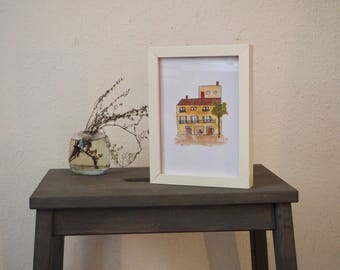 House with terrace - Print Din A5 - Illustration with Watercolours