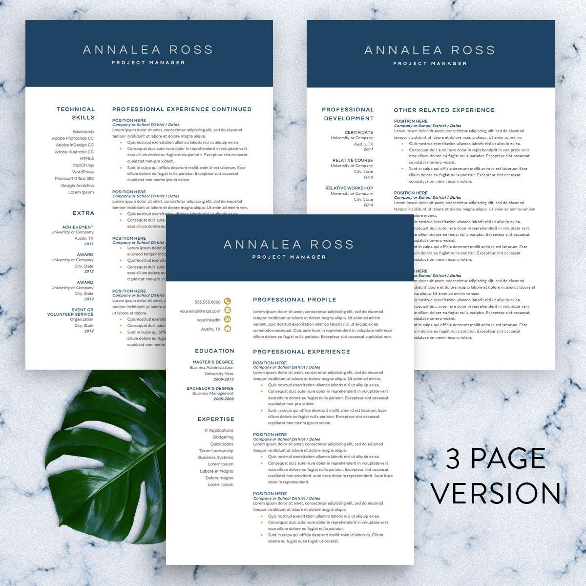 Modern Resume Template For Word 1 3 Page Resume Cv Template