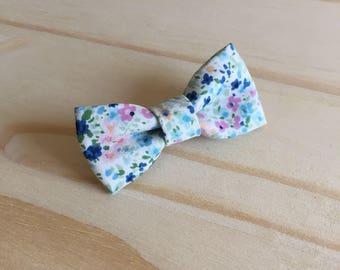 Hair bow blue flowers