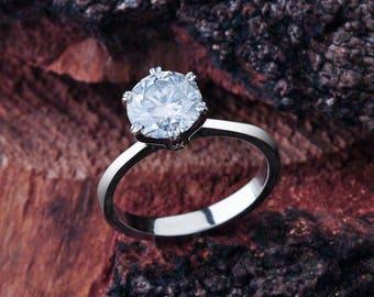Moissanite Solitaire Engagement Ring in 14K White Gold / 8mm Moissanite Round Cut Center Stone