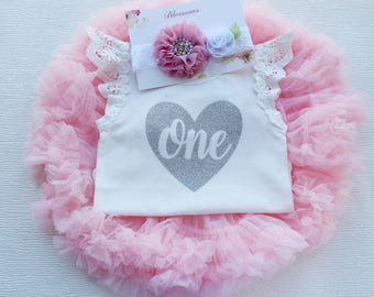 1st Birthday Outfit Girl, Cake Smash Outfit, Silver Glitter Bodysuit, First Birthday outfit, Pink 1st Birthday Party Outfit, Pink, Silver