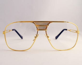 Aviator Flat top Clear Lens Gold Retro Glasses