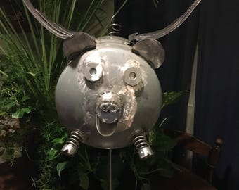 When Pigs Fly Recycled Metal Sculpture