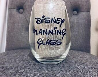 Disney Planning Vinyl Wine Glass