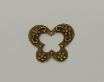 2 flowers 43x50mm antique bronze Butterfly pendant