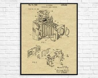 Vintage Camera Patent Print,  1966 Camera Design, Camera Patent, Camera Wall Art, Camera Decor, Camera Blueprint, Photographer Gift