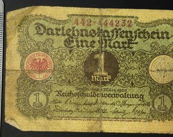 4 x 1 Mark Darlehnskassenschein from 1920