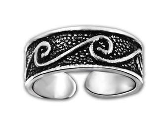 Silver Toe Ring,Adjustable Toe Ring,Oxidised Silver Toe Ring,
