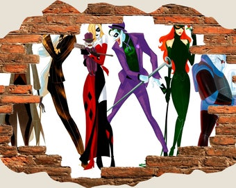3D Hole In Wall Children Fairytale Batman Joker Catwoman View Wall Decal  Sticker Frame Mural Effect