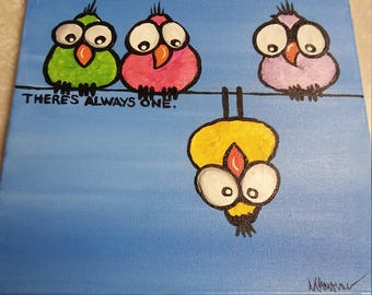12x12 bird acrylic painting canvas there's always one wall hanging
