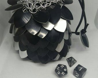 Black and White Scale Dice Bag