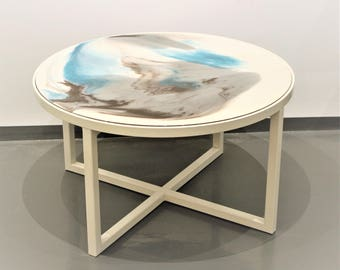 "Coffee table ""Seashells"", resin table, abstract, resin art, luxury furniture,modern furniture, stainless steel, living room,coffee"