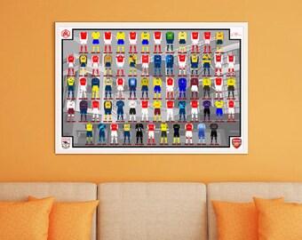 Arsenal History of Jerseys Digital Poster A2 size