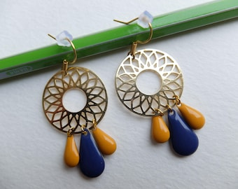 Earrings gold, mustard and dark blue