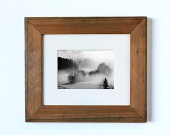 SMALL Rustic Two Tiered Weathered Cypress Frame with Wooden Matting, rustic frame, rustic wooden frame, reclaimed wood frame, wood matting
