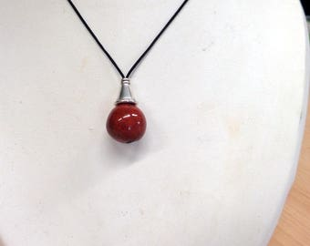 "Red Pearl necklace ""drop"""