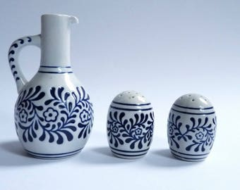 Ceramarte Rio Negrinho Brasil Ceramic Spice Set Oil Jug Salt & Pepper 1960's Vintage Collectors Rare