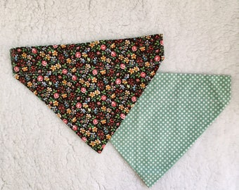 Handmade Floral & Polka Dot Bandana for Dogs, Cats, and other animals. Custom orders. Custom sizes.
