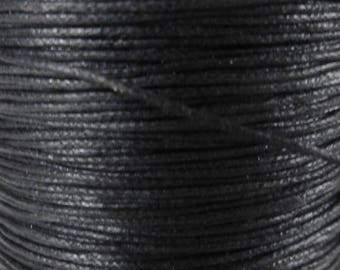 5 meters of waxed cotton black 1 mm
