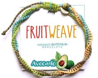 AVOCADO DNA BRACELET, Guatemalan Bracelets, Handmade bracelets, colorful bracelets, fruit based, fruit weave, friendship bracelets.
