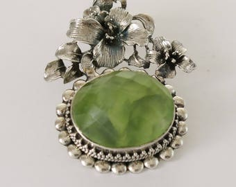 Pendant Prehnite Gemstone Silver