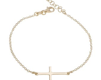 "Sterling Silver Cross Bracelet 7"" to 8"" inches extendable + Yellow Gold Plated"
