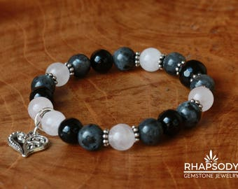Love Stone Rose Quartz, Black Onyx and Larvikite Gemstone Energy Bracelet with Ornate Heart Charm- Stackable Bohemian Crystal Beads