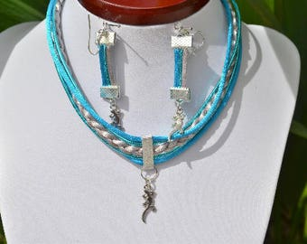 turquoise and silver lizard earrings