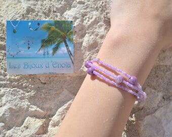 Purple /parme bracelet 3 rows