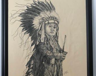Original charcoal drawing of an Cheyenne boy
