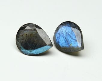Natural Labradorite Faceted Pear cut size- 10x12 MM Approx, 2 PCs Lot Flashy Fire Labradorite Pear loose semi- precious gemstones Code-HO07