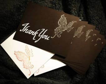 """Hand Calligraphy/Hand Stamped """"Thank You"""" Cards, Set of 8 w/ Hand Stamped Envelopes"""