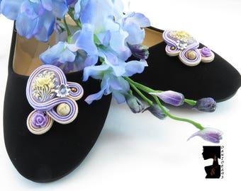 Soutaches Clips-Soutaches accessories for shoes violet lilac-shoe accessories-glamour shoe Clips-soutaches clips-S. Valentino