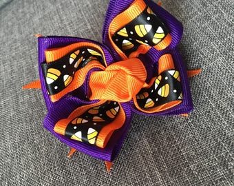 Stacked Halloween hair bow for baby toddler children