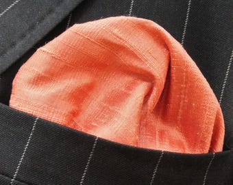 Silk Hankie Pocket Square Handkerchief 100% SILK DUPION Ember Orange - UK Made