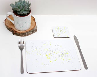 Yellow paint splatter Placemats | Tabletmat set | Yellow and grey | Colour Pop | Table Setting | Modern Home | Scandi Home | Place mat