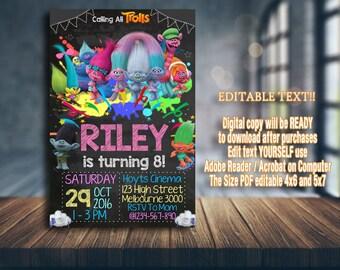 Trolls Invitation, Trolls Birthday, Trolls Party, Trolls Card, Trolls Printable, Trolls, Trolls Girl, Girl Invitation, Trolls Invitations