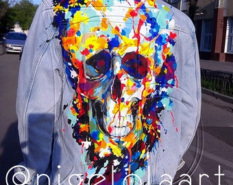 "Hand painted jacket ""Skull""; Jean jacket; art jacket; Pop-art jacket; Jacket with painting; hand painted jean jacket men"