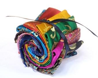 Set of 12 fabric brocade fabric patchwork D