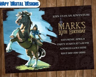 The legend of zelda M2 Digital Party invitation customize invite birthday thank you card