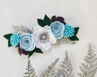 Elsa Winter Flower Crown, Holiday felt flower, blue felt flower hair accessory, felt Christmas headband, felt flower headband frozen