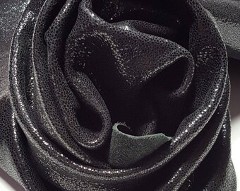 Leather Cow Hide Black Midnight Soot Sparkle Upholstery Cowhides TS-3700
