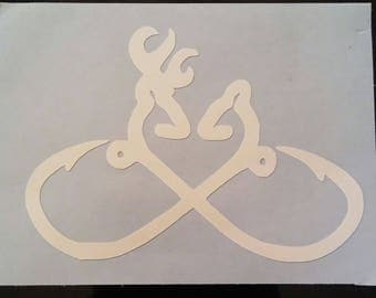 Infinity Deer Love with Fishing Hooks Decal
