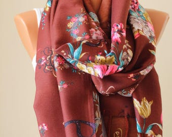 EXPRESS SHIPPING Brown Floral scarf Brown Russian Shawl Brown russian scarf Valentine's day gift Anniversary gift Clothing Gift