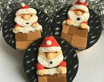 Fondant santa cupcake toppers