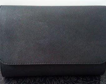 Eco Leather Black Clutch Purse