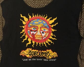 "This is tote bag . Made from a repurposed ""Sublime"" tee"
