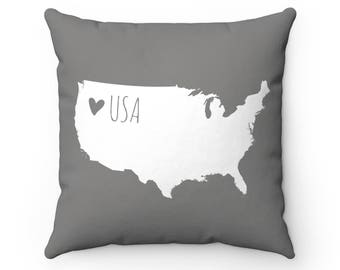 Us map pillow Etsy