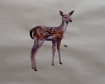 Deer ink drawing, painting on paper