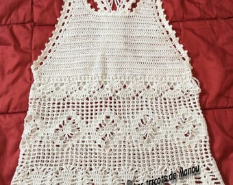 Tank top women crochet, one drops in white cotton